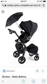 Stokke Xplory pushchair with Izi-sleep car I seat and carry-cot. Complete set almost new