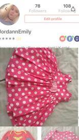 Baby girl pink polka dot dress 3-6 months