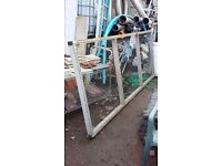 Wooden frame with wire mesh fencing