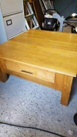Oak coffee table large with draw