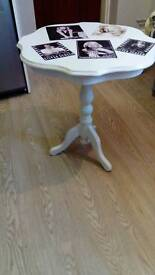 Vintage white chalk paint plant stand /side table/ hall living room