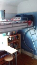 Bunk bed for sale Good condition Mattress desk and stool included. Will help with disassembly