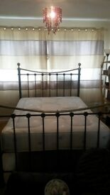 Double bed frame, base and mattress excellent condition