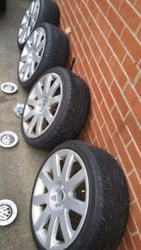 """Wv alloys17"""" with good tyres some curbing marks.center caps and bolts!Can deliver or post!"""