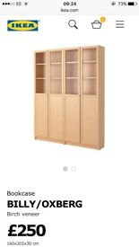 Brand new billy bookcase with display doors