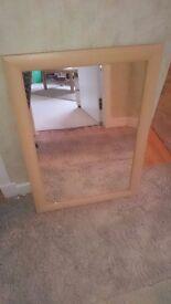 Light wood effect mirror
