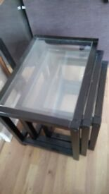 Glass top set of 3 table nest going cheap serving table coffee table