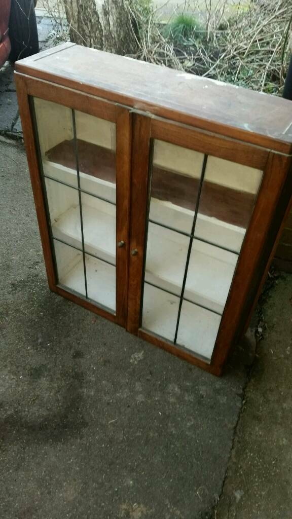 Antique Looking Glass Door Wall Cabinet Oak In Oxford Oxfordshire