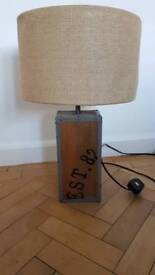 Next wood/ vintage / retro / industrial lamp with Hessian