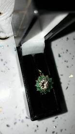 9CT GOLD EMERALD AND DIAMOND RING