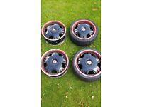 """WOLFRACE 17"""" Alloys & 2 Good Tyres (Black)"""