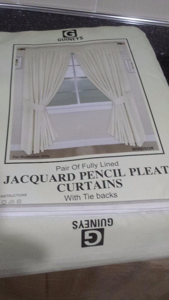"Windsor jacquard fully lined curtains size 90""x90"" colour cream .brand new never been used."