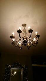 Gorgeous light fitting in silver grey pewter coloured metal from France