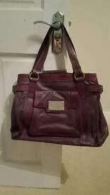Large purple leather Tommy and Kate handbag