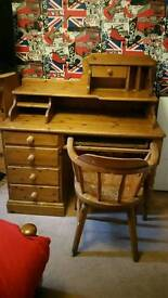 Solid Pine Desk with Captains chair