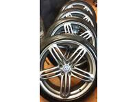 """SET OF 20"""" VW / AUDI ALLOYS MINT COND WITH GOOD 245 40 20 MATCHING TYRES (TYRE SIZE CAN B CHANGED)"""