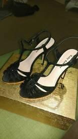 Evening black sequin sandals