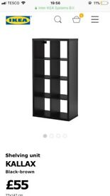 IKEA KALLAX shelving unit in BLACK/BROWN 6 months old very good condition