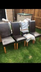 Dark brown faux leather set of 6 dining chairs