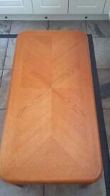 Coffee Table. Teak colour with gold inserts