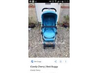 Icandy cherry pushchair aqua colour + footmuff