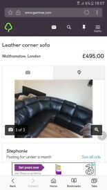 Real leather corner sofa reclines