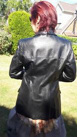 Ladies Soft Leather Black Jacket, size 44, excellent condition.