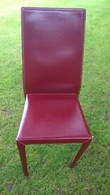 8 Red Leather Dining Chairs Cattlelan Italia