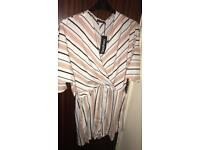 Brand new with tags striped wrap over playsuits size 14