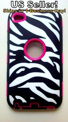 iPod Touch 4 Case FREE SHIP Protective Hybrid w/ Screen Cover Zebra & PINK