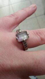Bi-coloured quartz ring set in silver size N