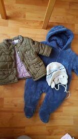 Baby boy 3-6 months coat jacket snowsuit pramsuit hat from M&P