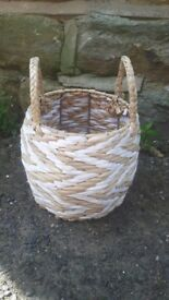 Small Wicker Basket Nordic Zig Zag Chevron Toiletries Storage Round with Handles