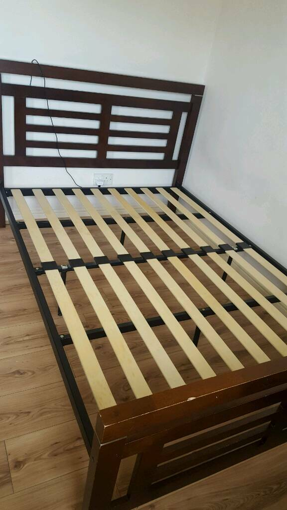 Brown Wooden Double Bed For Sale