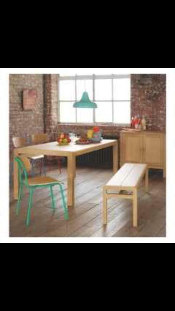 Habitat radius Solid oak LARGE TABLE & TWO BENCHES - furniture - Laura Ashley John Lewis raft oka