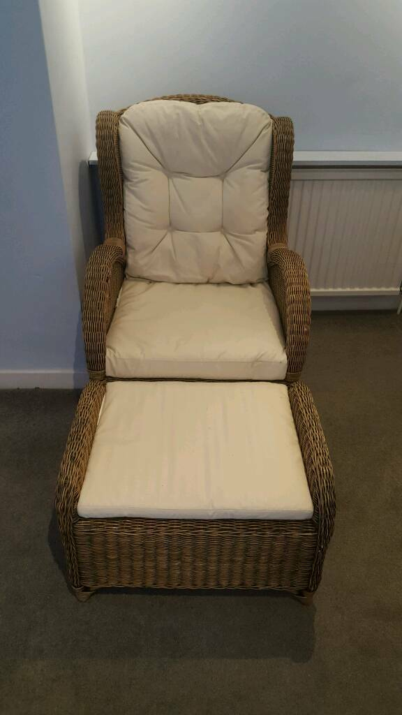 Natural Wicker Cane Armchair and Footstool