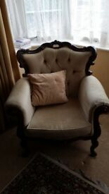 2 arms chairs and chaise longue, in need of renovation. Free for collection only all/ individuallly.