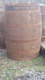 Whole and half oak whisky barrels