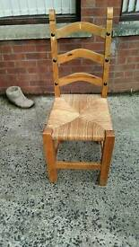 Pine and wicker chairs