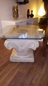 glass top stone based side table