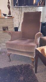 Brown velvet vintage armchair