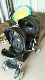 double pram and baby walker