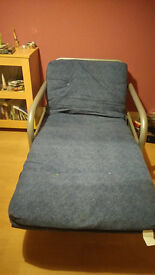 Fold out bed, Fouton Comfy chair that becomes a spare single bed, Silver and Blue