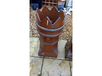 2 x Large Victorian Crown Topped Chimney Pots