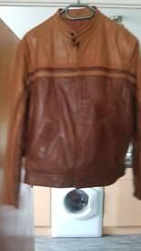 Men's real leather biker style jacket
