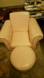 Girls pink leather chair and stool