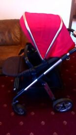Silver cross pushchair in red with maxi cosi car seat and adapters
