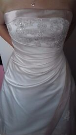 Victoria Kay A-Line Strapless Ivory And Champagne Embellished Wedding Dress Size 16