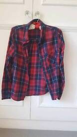 Red and Navy New Look Lumberjack Shirt Size 8