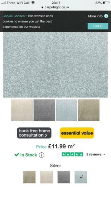 New Cancun Saxony Carpet (silver) | in